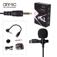 Ulanzi arimic нагрудные петличный микрофон комплект Clip-On Hands-Free 3.5 мм Jack конденсаторный микрофон для iPhone 7 6 для интервью лекции