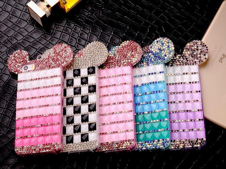 YESPURE Fancy Bling Berlian Mouse Ears Kasus Telepon Mewah untuk - Aksesori dan suku cadang ponsel - Foto 2