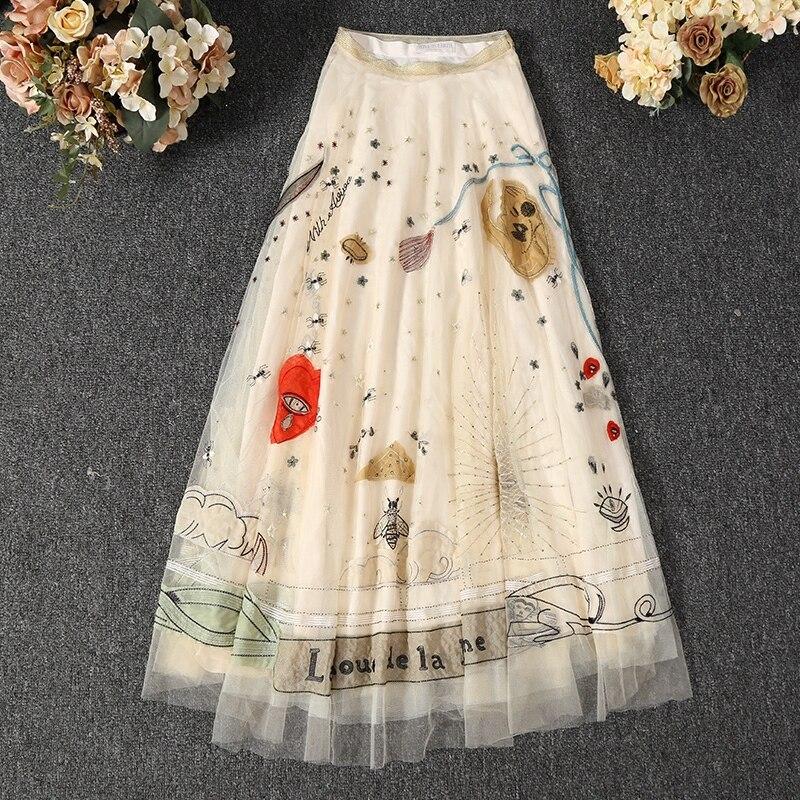Высококачественные сетчатые юбки с вышивкой, весна-лето 2018, Модная элегантная юбка с высокой талией, S396