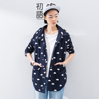 Toyouth 2016 Spring Summer New Arrival Cotton Single Breasted Print Cloud Hooded Full Straight Pockets Women