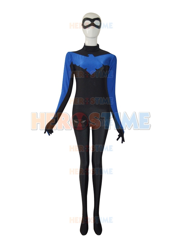 New Style Nightwing Costume spandex lycra superhero costumes for halloween cosplay hot sale show zentai suit