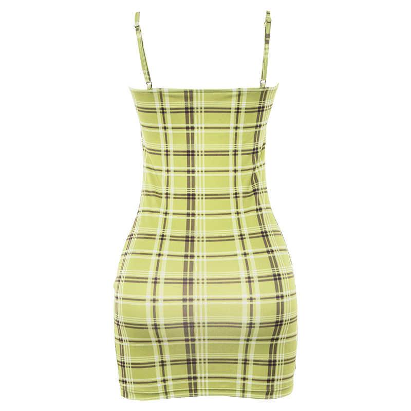 2019 женские сексуальные мини-платья, клетчатые платья на тонких бретельках с высокой талией, модные летние пляжные тонкие вечерние платья для клуба