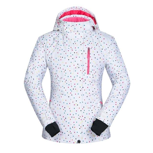 b25579dc747 Dots printing White Ski Jacket Women Water-Resistant Breathable Winter Walk    Skiing Jacket Thermal