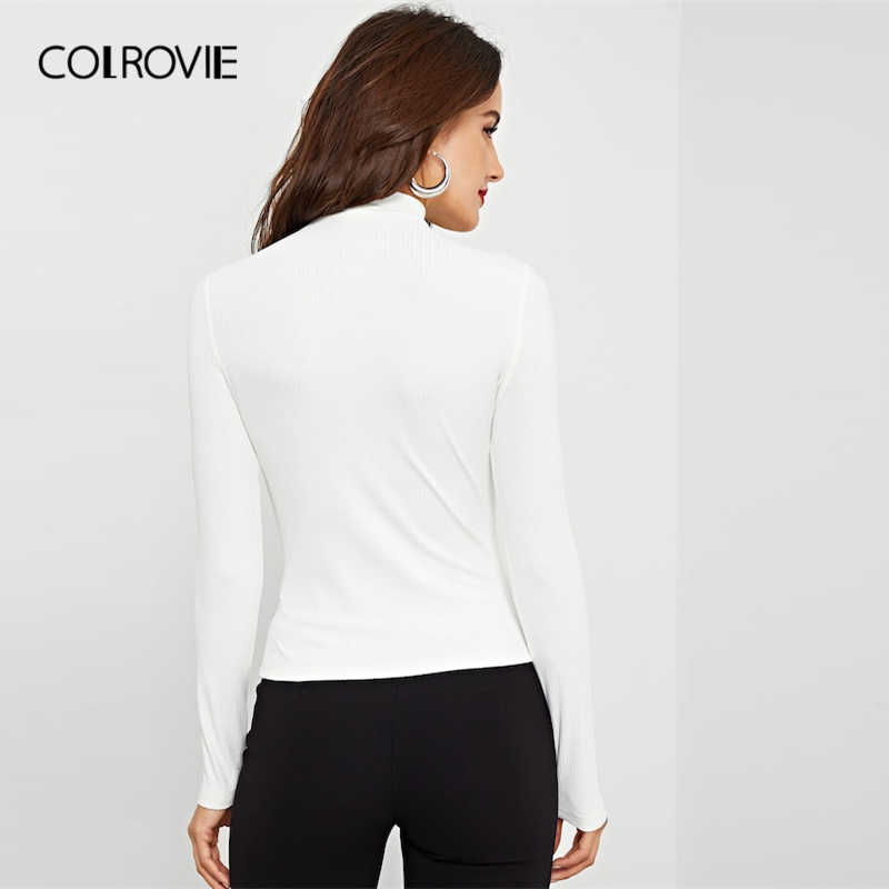 COLROVIE White Criss Cross Stand Collar Ribbed Knit Sexy T-Shirt Women 2019 Spring Long Sleeve Shirt Slim Fit Office Lady Tee