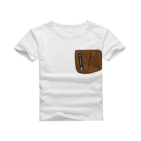 2017 Cotton Short-sleeved T-shirt Hot New Summer Kids Boy Original Single Patch Pocket Zipper Soft Casual Cloth