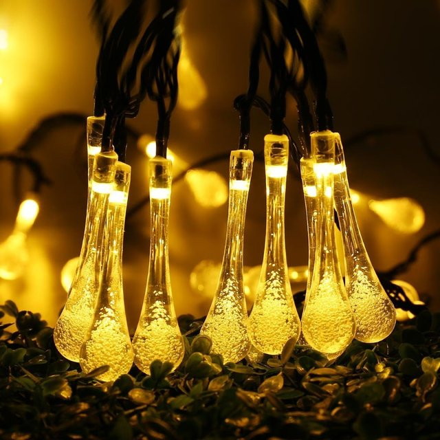solar led garlands string fairy lights 7m 20 led water drop pendant party garden decor lamps