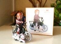 Retro clockwork tin toys Classic Clockwork Tin Biker boy Rare collectibles