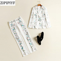 ZIPIPIYF 2018 Spring New Suits High Quality Fashion Design Sequined Turn Dowb Collar Print Embroidery Coat