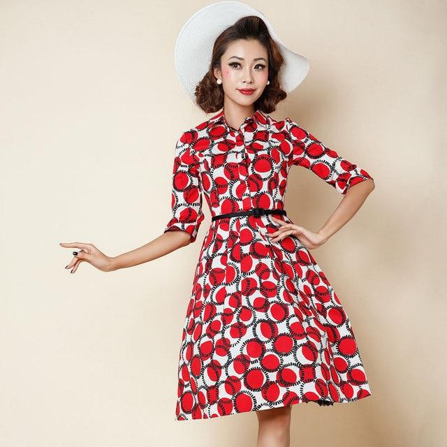 ef9d0ae593 1950 s rockabilly pinup rocznik koszula kołnierz huśtawka sukienka w  kolorze czerwonym kropki