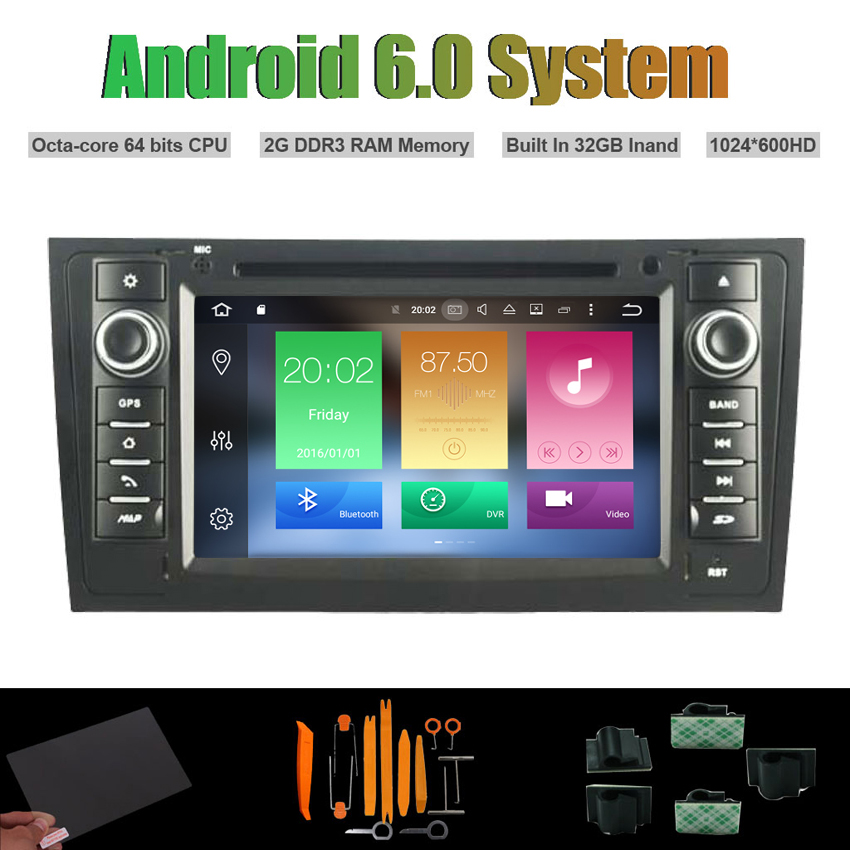 Android 6.0 Octa core CAR DVD PLAYER for AUDI A6 AUDI S6 AUDI RS6 1997 2004 Auto Raido Player WIFI 2G RAM 32GB Inand flash