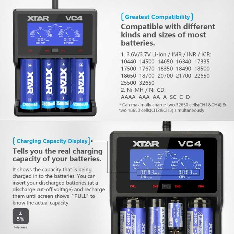 XTAR VC2 VC4 شاحن بطارية لوحة تحكم شاملة في التلفزيون الإل سي دي شاشة عرض USB متولى حسن/ني المضغوط ليثيوم أيون 18650 20700 21700 22650 26650 18500 18700 16340