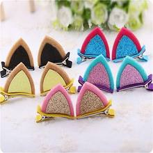 2017 New Lovely Fashion Kids Baby Grils Cat Ear Barrettes Hair Clip Barrette Hairpin 1Pc(China)