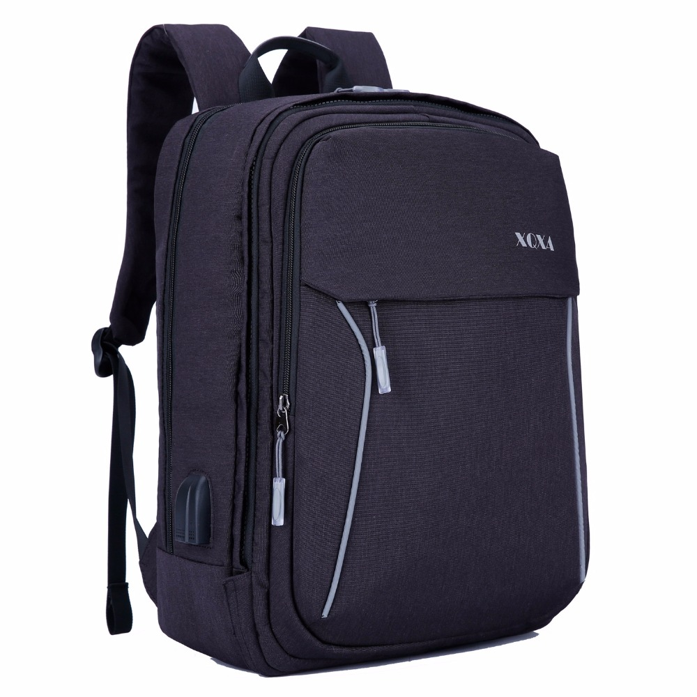 XQXA Uniex 17 Inch Laptop Backpack Women & Men Business Rucksack Teenagers School Travel Bag With USB Earphone Interface Cable