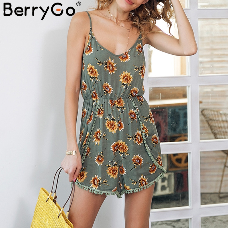 BerryGo Floral print tassel strap   jumpsuit   romper Backless high waist elastic short romper 2018 Casual summer playsuit women