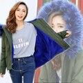 2016 Nuevas Mujeres de Marcas de Invierno Verde Del Ejército Wadded Chaqueta Abrigos gran Cuello de Piel Con Capucha Gruesa Parkas Outwear Desgaste de la Nieve Femenina M ~ 5XL