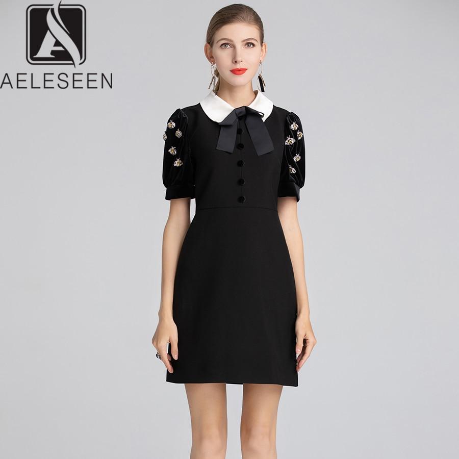 AELESEEN Runway Designer Patchwork Black Dress 2018 Fall Winter Peter Pan Collar Handmade Crystal Beading Velvet