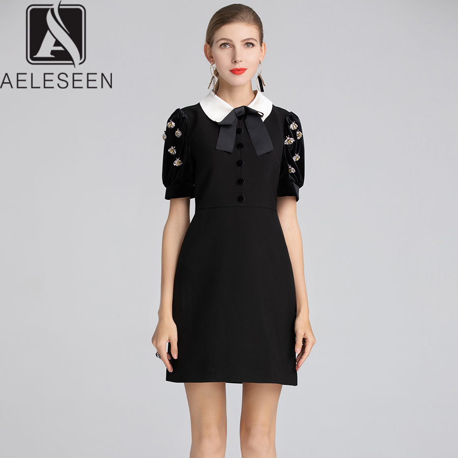 eb794ec191 AELESEEN Runway Designer Patchwork Black Dress 2018 Fall Winter Peter Pan  Collar Handmade Crystal Beading Velvet Dress Women