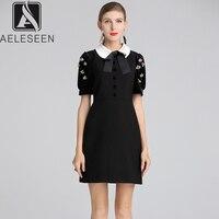 AELESEEN Runway Designer Patchwork Black Dress 2018 Fall Winter Peter Pan Collar Handmade Crystal Beading Velvet Dress Women