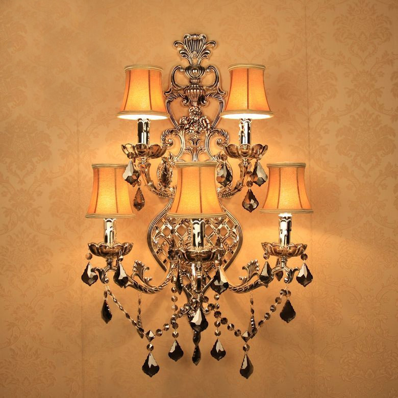 Modern Crystal LED Wall Lights antique silver Wall Lamp Five Lights Large Sconces for Hotel Home Wall Light with Fabric Shade
