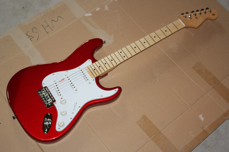 Free shipping Top Quality China Custom Guitar stratocaster 6 string Metal red Electric Guitar @31 free shipping china top 1 brand flamingo