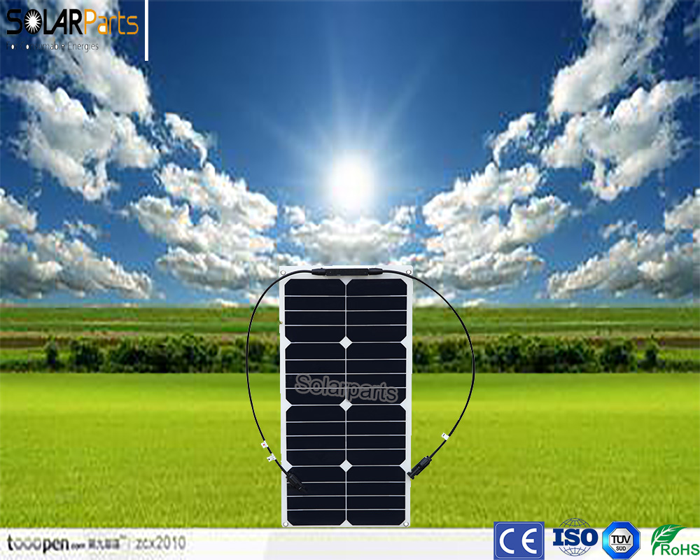 Solarparts 2x 25W flexible solar panel mono module for 12V battery with USA solar cell with MC4 connector cell DIY kits charger