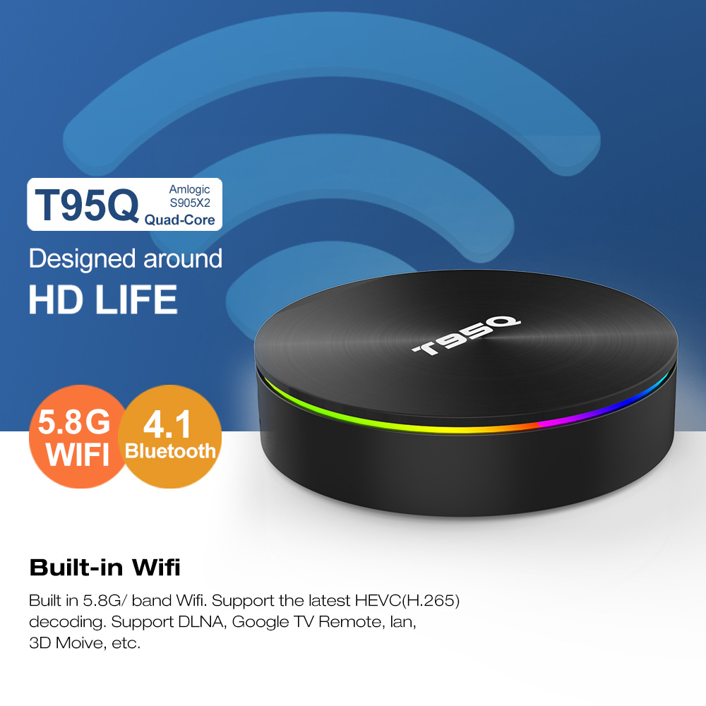 T95Q 4 GB 64 GB caja de TV Android 8,1 LPDDR4 Amlogic S905X2 Quad Core 2,4G y 5 GHz Dual wifi BT4.1 1000 M H.265 4 K Media Player - 3
