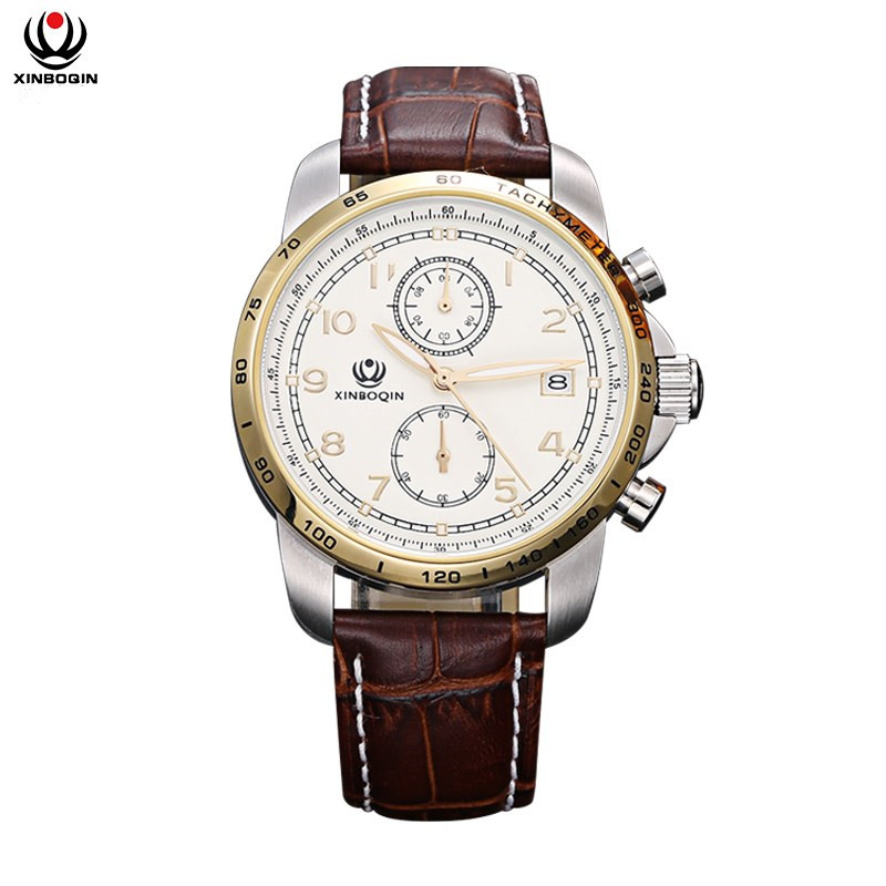 XINBOQIN Men Business Quartz Watches Fashin Waterproof Calendar Wrist Watch Men's Leather Strap Simple Quartz Wristwatches 3036 цена