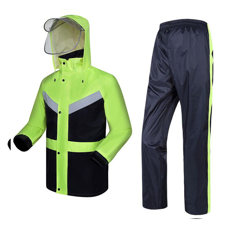 спецодежда от дождя - New High visibility fashion rain gear rain coat reflective jacket waterproof trousers safety clothing workwear free shipping