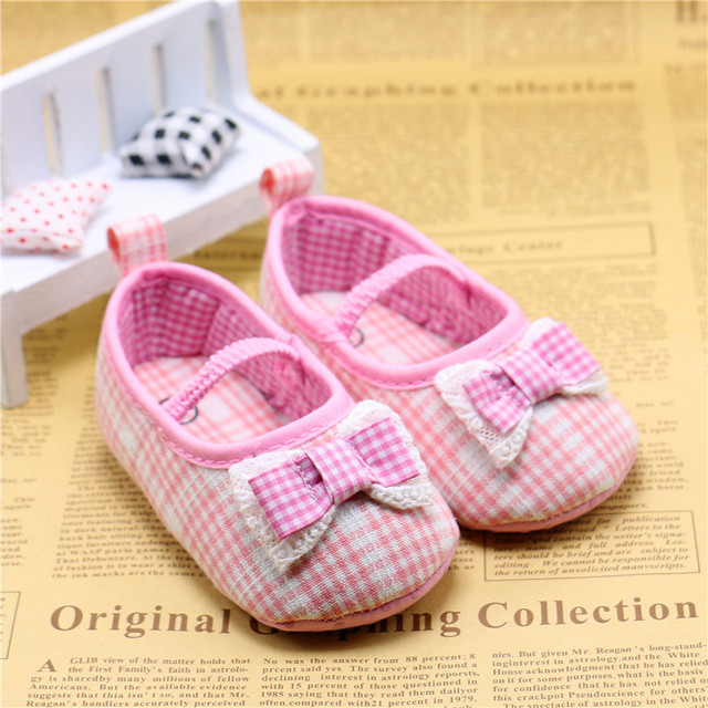 Plaid and Stripe Baby Shoes Girl Boy Anti-slip / Skid-proof Shoes Soft Cotton Toddler Infant First Walkers Kids Gift 11-13cm