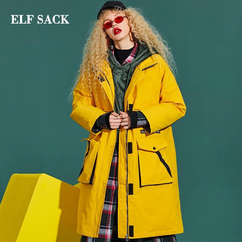 ELF SACK Fashion New Woman   Down   Jacket 90% White Duck   Down     Coat   Thick Full Women   Coats   Casual Stylish For Women Winter Wearing