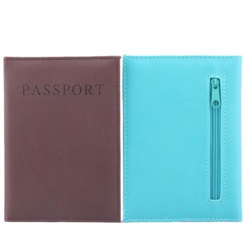 1 Pc etui na paszport PU skóra paszport podróże pokrywa promocyjne etui na paszport etui na paszport tanie i dobre opinie 9 7inch 14 2inch Zipper passport package 0 037kg Paszport okładki 0inch Stałe Solid color