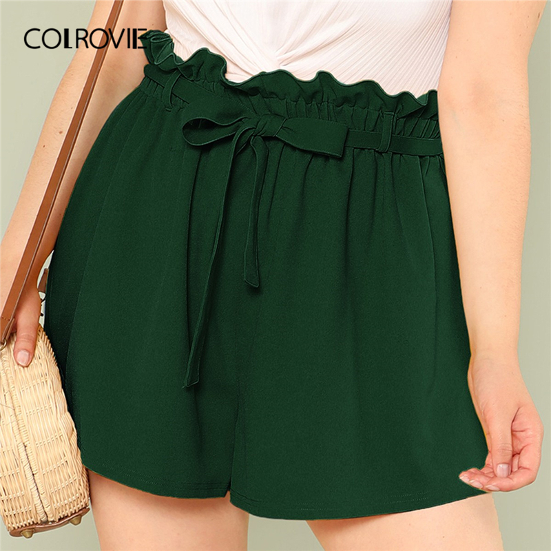 COLROVIE Plus Size Green Paperbag Waist Solid Belted Knot Frill Wide Leg   Shorts   Feminino 2019 Summer Casual Beach Women   Shorts