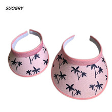 Mother And Daughter Sun Hat Parent-Child Visor Handmade Straw Summer leisure Empty Top Beach  Coconut Trees