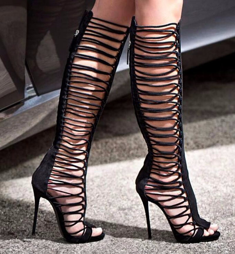 NewStyle Woman Summer Black Suede Knee High Sandal Boots Concise Side Narrow Band Hollow Out Design Females Thin Heels Long Boot brown women sandal boots mesh net high heels stilettos real image long summer style boot sandals female knee sandal boots