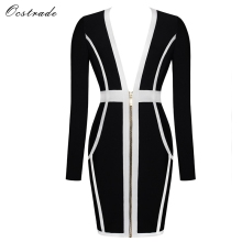 Ocstrade Black V Neck Long Sleeve Mini Zipper High Quality Bandage Dress HI901-Black