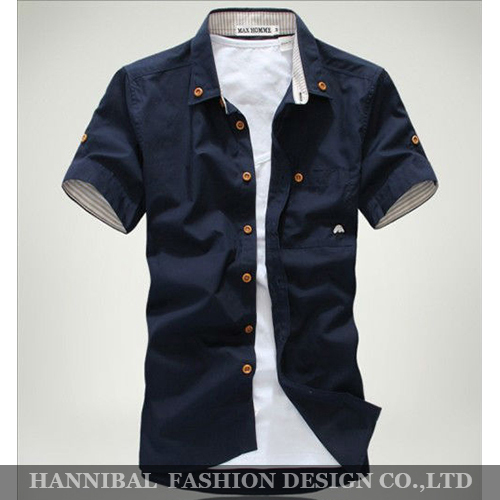 Freeshipping  Hot Sale 2014 Men's Fashion Short Sleeve Shirts.Top Brand Quality Summar Slim Shirts ,With Mushroom Embroidery