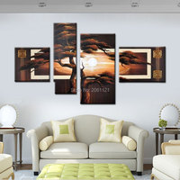 Handpainted 4 Piece Wall Picture Tree Landscape Black Brown Modern Abstract Canvas Oil Paintings For Living