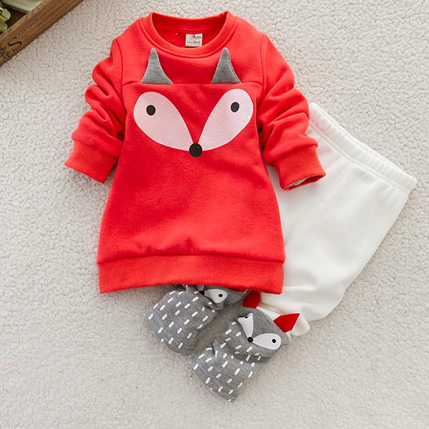 Autumn winter Baby Girls Clothing set Lovely Children s Clothing 2PCS Thick Long Sleeve Fox Tops