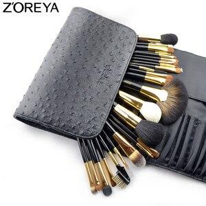 Image 2 - ZOREYA brochas de maquillaje para mujer, conjunto profesional de 24 Uds de pelo de Sable, herramienta de maquillaje para belleza