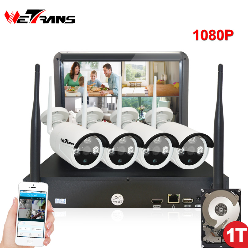 Wireless Security Cameras Home Surveillance System with Monitor 10.1 Inch Plug Play 20m Night Vision Outdoor Wifi IP Camera Kit