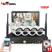 hot deal buy wireless security cameras home surveillance system with monitor 10.1 inch plug play 20m night vision outdoor wifi ip camera kit