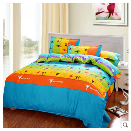 striped yellow orange blue green dancing in the rainbow cotton comforter sets king queen full. Black Bedroom Furniture Sets. Home Design Ideas