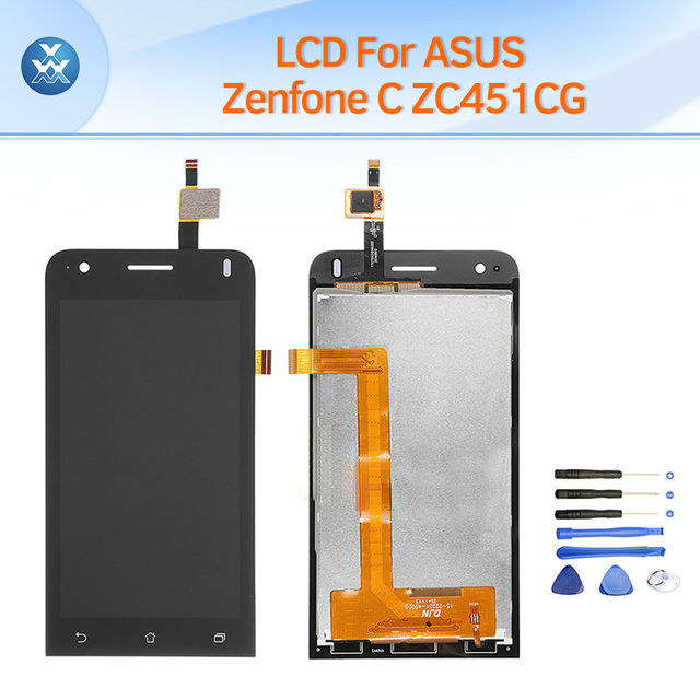 AAA China LCD display for ASUS Zenfone C ZC451CG LCD display touch screen digitizer complete assembly replace 4.5 inch parts