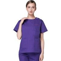high quality durable short sleeve nursing uniform scrubs for women spa uniform hospital surgical nursing scrubs navy