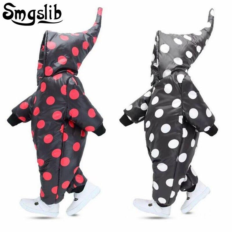Infant winter clothing Dots Newborn Overalls snowsuit Snow Wear Coats Cotton toddler Girl clothes baby boy romper onesie 0-24M