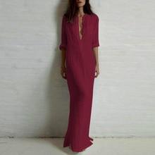 Women Casual V Neck Long Maxi Dress