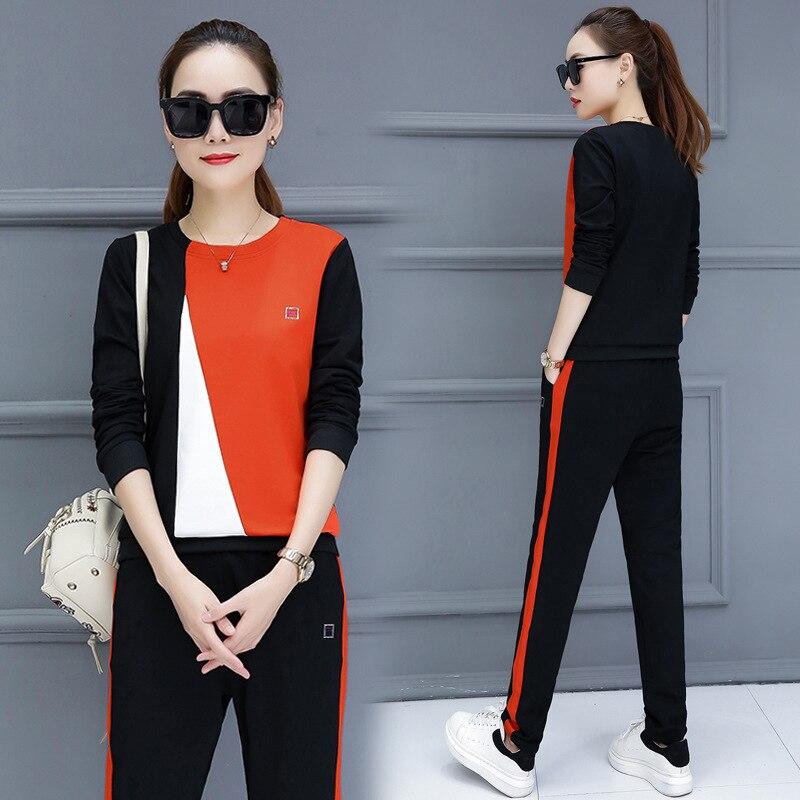 2018 Herbst Koreanische Version Des Neuen Mode Oansatz Lange-ärmeln Lose Sport Casual Frauen Sportswear Sets