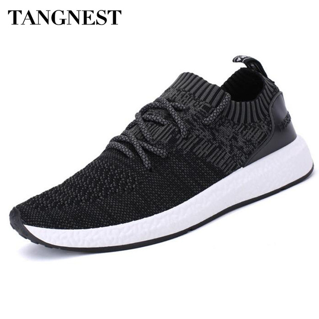 9f9a6c6ad7d9 Tangnest Men Lightweight Casual Shoes Fashion Design Knitted Slip-on Flats  For Youth Breathable Platform Shoes Man Black XMR2543