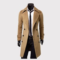 2018 New Arrival Autumn Trench Coat Men Brand Clothing Fashion Mens Long Coat Jacket Top Quality Cotton Male Overcoat M-3XL
