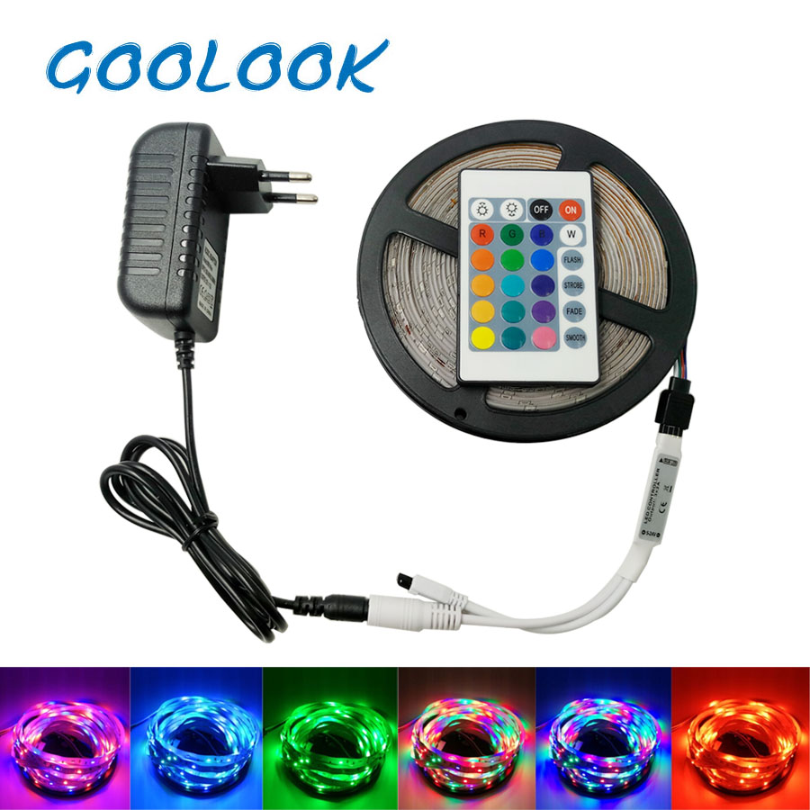 LED Strip Light SMD 3014 RGB LED Tape 5M 10M LED Flexible Strip RGB light emitting Diode ribbon DC12V+ IR Controller Full Set
